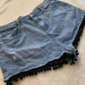 Pants - High Waisted Denim Shorts With Black Trim -US 14